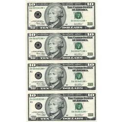 Uncut Currency Sheet 4 x $10 2003 STAR UNC