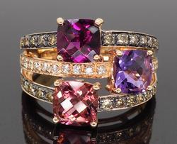 Le Vian Rhodolite, Tourmaline & Amethyst Diamond Ring