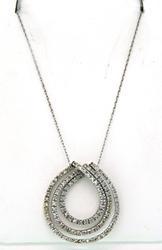 Triple Loop Diamond Pendant Necklace