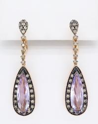 LeVian 14K Rose Gold Amethyst & Diamond Earrings