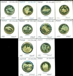 Complete Set of 12 Canada $100 PRF Golds 1987 to 1998