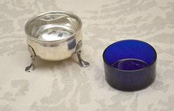 Sterling Salt Cellar, w Blue Glass Insert