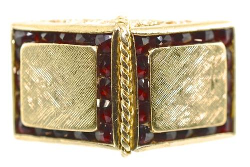 Uniquely Styled 14K and Garnet Ring