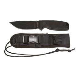Panther Tactical Fixed Blade, Black Coated Stainless Steel