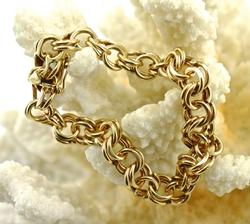 Vintage 14K Yellow Gold Heavy Charm Bracelet