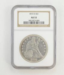 AU53 1872-S Seated Liberty Silver Dollar - NGC Graded