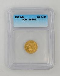 MS61 1911-D $2.50 Indian Head Gold Quarter Eagle - ICG Graded