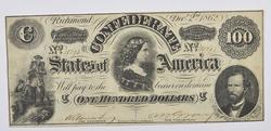 1862 $100.00 Confederate States of America Note