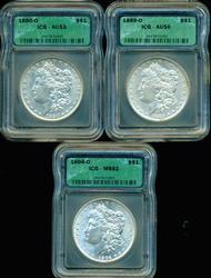 1880-O, 1889-O, & 1904-O Morgans. ICG AU to BU holders