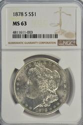 Snowy-white BU 1878-S Morgan Silver Dollar. NGC MS63