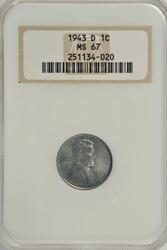 Awesome NGC MS67 1943-D Steel Lincoln Cent.