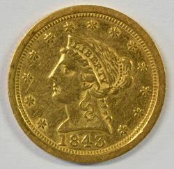 Scarce 1843-O (large Date) $2.50 Liberty Gold Piece
