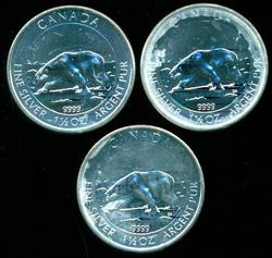 3 Gem BU 2013 Canada 'Polar Bears' 1 1/2 oz pure silver