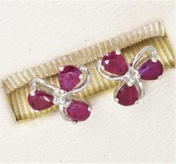 Ruby Earrings in White Gold