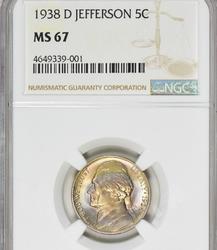 1938-D Jefferson Nickel NGC MS-67