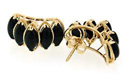 Black Onyx Shrimp Style Earrings
