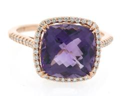 Popular Style Amethyst & Diamond Ring in Rose Gold