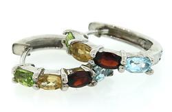 Multi Gemstone Sterling Silver Earrings