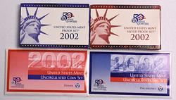 Year 2002 Complete Mint and Proof set Lot