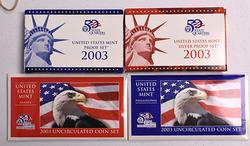 Year 2003 Complete Mint and Proof set Lot