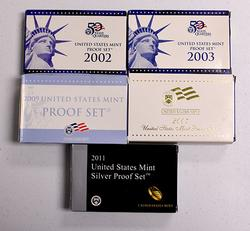 4 x Clad Proof Sets, 02,03,07,09, Silver 2011