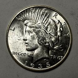 Brillant Unc 1935-S Peace Silver Dollar