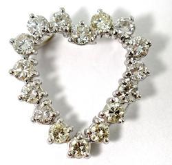Stunning 2 Carat 14K Diamond Heart Pendant
