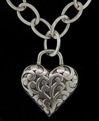 Lois Hill Heart Scroll Necklace in Sterling