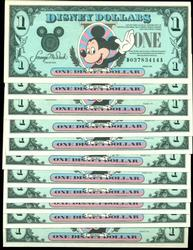 Collectible lot of 11 Gem CU Disney Dollars from 1991