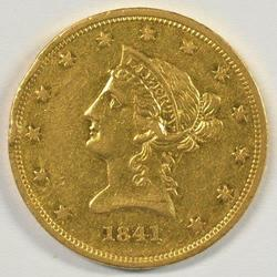 Fully struck lustrous 1841 No Motto $10 Liberty Gold
