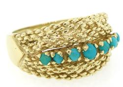 Vintage Turquoise Bead Ring in 18K