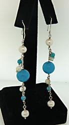 Sterling Silver Turquoise and Pearl Earrings