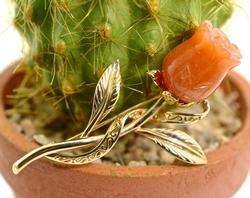 Unusual 14K Carved Carnelian Rose Brooch