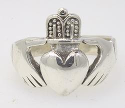 Big Irish Style Cladaugh Ring, Sterling