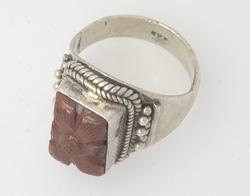 Hand Carved Stone Ring In Sterling