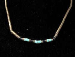 Vintage Sterling and Turq Bead Necklace