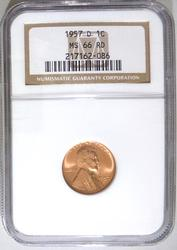 Gem BU 1957 Denver Minted Lincoln Cent NGC Graded MS-66