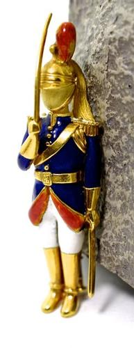 Incredible 18K Enamelled Palace Guard Brooch