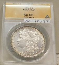 1893 Morgan Dollar ANACS AU-55 cleaned, a key date