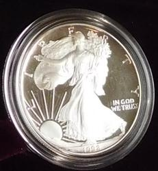 1992 PROOF Silver Eagle - Mint box & documentation