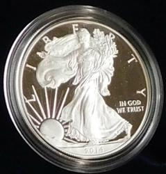 2014 PROOF Silver Eagle - Mint box & documentation