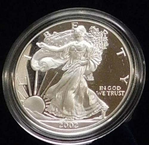 2002 PROOF Silver Eagle - Mint box & documentation