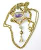 Early Sterling Vermeil Necklace with Large Amethyst