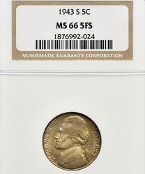 1943-S Silver Jefferson Wartime NGC MS 66 5FS