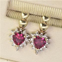 Heart Cut Synthetic Ruby Earings in Gold