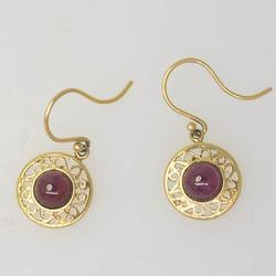 Gold Filigree Framed Garnet Cabochon Earrings