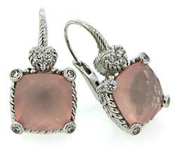 Judith Ripka Rose Quartz Drop Earrings
