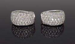 Elegant 3 plus CTW Diamond Hoop Earrings, 18K