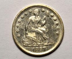 Full Liberty 1857 Half Dime, Circulated