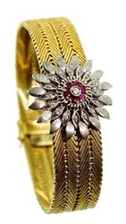Heavy 18K Bracelet w/ Ruby & Diamond Flower Attachment
